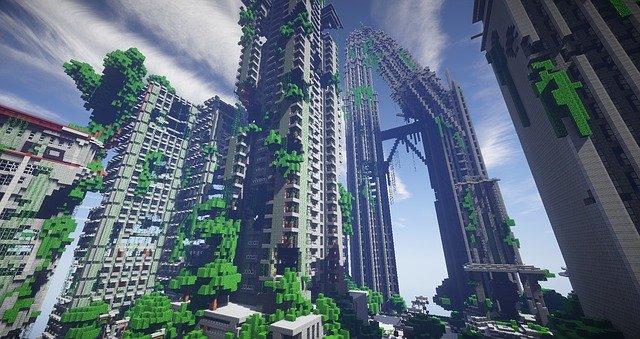vysoké budovy vytvořené z kostek, herní prostředí